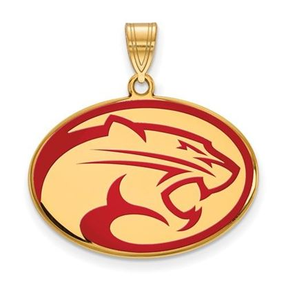Picture of University of Houston Cougars Sterling Silver Gold Plated Large Enameled Pendant