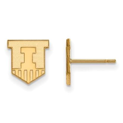 Picture of University of Illinois Fighting Illini Sterling Silver Gold Plated Extra Small Post Earrings