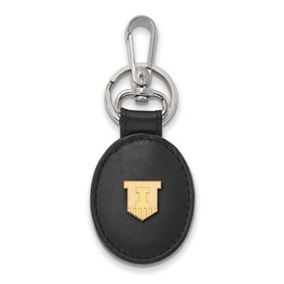 Picture of University of Illinois Fighting Illini Sterling Silver Gold Plated Black Leather Oval Key Chain
