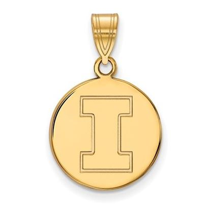 Picture of University of Illinois Fighting Illini Sterling Silver Gold Plated Medium Disc Pendant