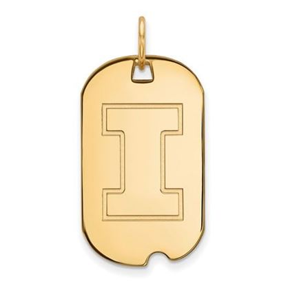 Picture of University of Illinois Fighting Illini Sterling Silver Gold Plated Small Dog Tag