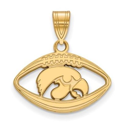 Picture of University of Iowa Hawkeyes Sterling Silver Gold Plated Football Pendant