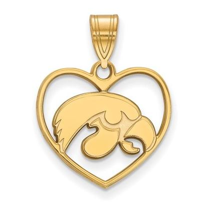 Picture of University of Iowa Hawkeyes Sterling Silver Gold Plated Heart Pendant