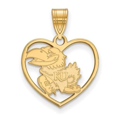 Picture of University of Kansas Jayhawks Sterling Silver Gold Plated Heart Pendant