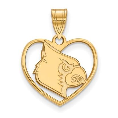 Picture of University of Louisville Cardinals Sterling Silver Gold Plated Heart Pendant