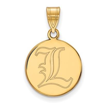 Picture of University of Louisville Cardinals Sterling Silver Gold Plated Medium Disc Pendant