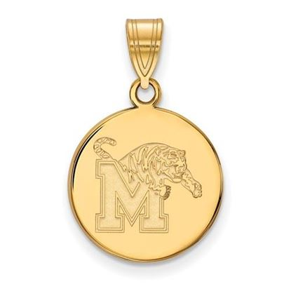 Picture of University of Memphis Tigers Sterling Silver Gold Plated Medium Disc Pendant