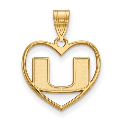 Picture of University of Miami Hurricanes Sterling Silver Gold Plated Heart Pendant