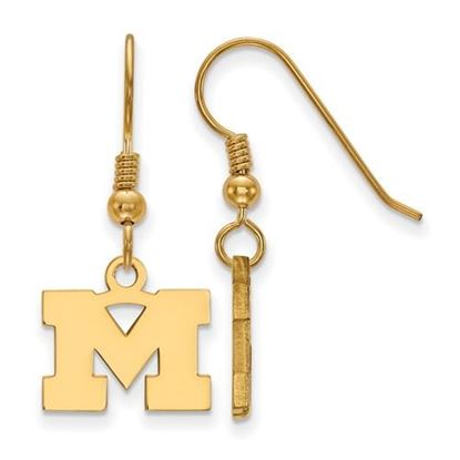 Picture of University of Michigan Wolverines Sterling Silver Gold Plated Extra Small Dangle Earrings