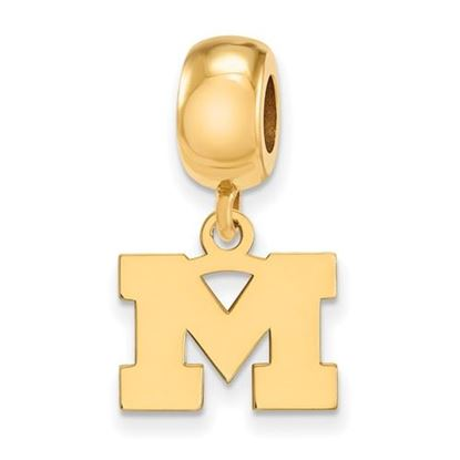 Picture of University of Michigan Wolverines Sterling Silver Gold Plated Extra Small Dangle Bead Charm
