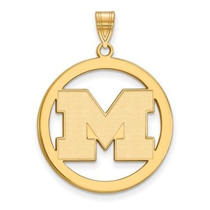 Picture of University of Michigan Wolverines Sterling Silver Gold Plated Large Circle Pendant