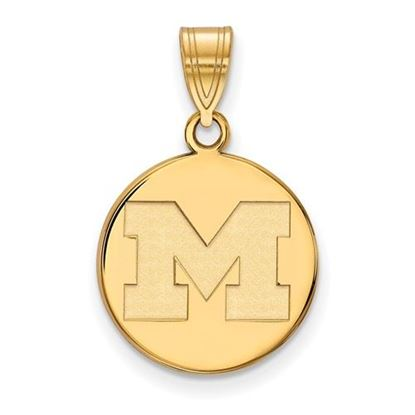 Picture of University of Michigan Wolverines Sterling Silver Gold Plated Medium Disc Pendant