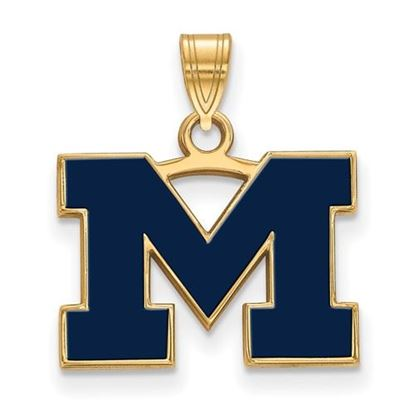 Picture of University of Michigan Wolverines Sterling Silver Gold Plated Small Blue Enameled Pendant