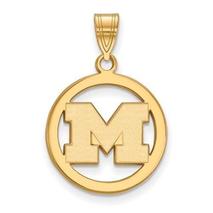Picture of University of Michigan Wolverines Sterling Silver Gold Plated Small Circle Pendant
