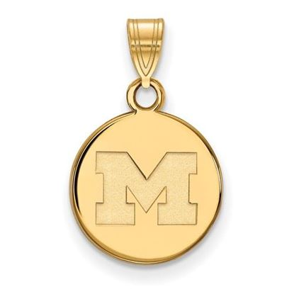 Picture of University of Michigan Wolverines Sterling Silver Gold Plated Small Disc Pendant