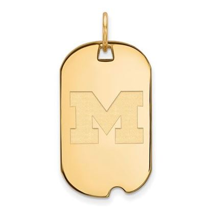 Picture of University of Michigan Wolverines Sterling Silver Gold Plated Small Dog Tag