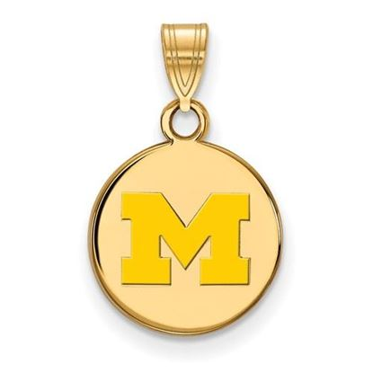 Picture of University of Michigan Wolverines Sterling Silver Gold Plated Small Enameled Disc Pendant