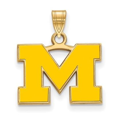 Picture of University of Michigan Wolverines Sterling Silver Gold Plated Small Enameled Pendant
