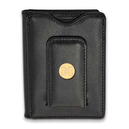Picture of University of Michigan Wolverines Sterling Silver Gold Plated Black Leather Wallet