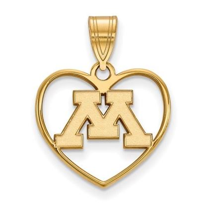 Picture of University of Minnesota Golden Gophers Sterling Silver Gold Plated Heart Pendant