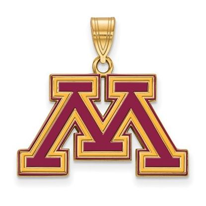 Picture of University of Minnesota Golden Gophers Sterling Silver Gold Plated Med Enameled Pendant