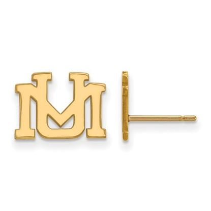 Picture of University of Montana Grizzlies Sterling Silver Gold Plated Extra Small Post Earrings