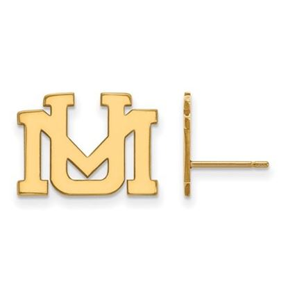 Picture of University of Montana Grizzlies Sterling Silver Gold Plated Small Post Earrings