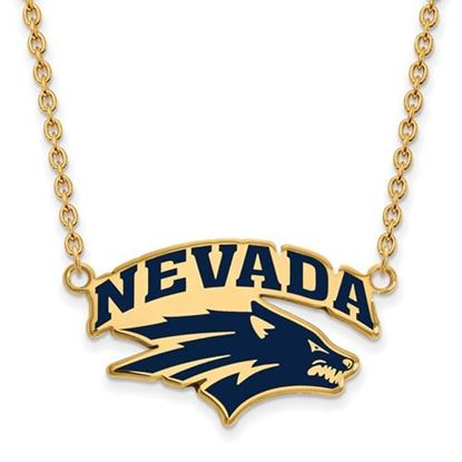 Picture of University of Nevada Wolfpack Sterling Silver Gold Plated Large Enameled Necklace