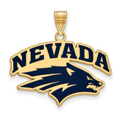 Picture of University of Nevada Wolfpack Sterling Silver Gold Plated Large Enameled Pendant