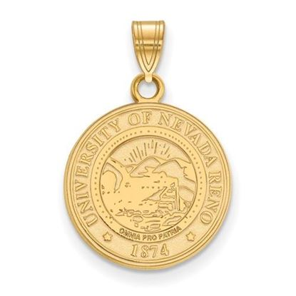 Picture of University of Nevada Wolfpack Sterling Silver Gold Plated Medium Crest Pendant