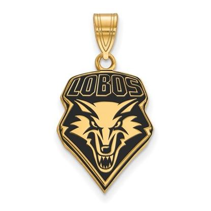 Picture of University of New Mexico Lobos Sterling Silver Gold Plated Large Enameled Pendant
