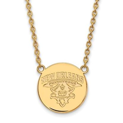 Picture of University of New Orleans Privateers Sterling Silver Gold Plated Large Disc Necklace