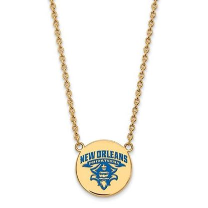 Picture of University of New Orleans Privateers Sterling Silver Gold Plated Large Enameled Disc Necklace