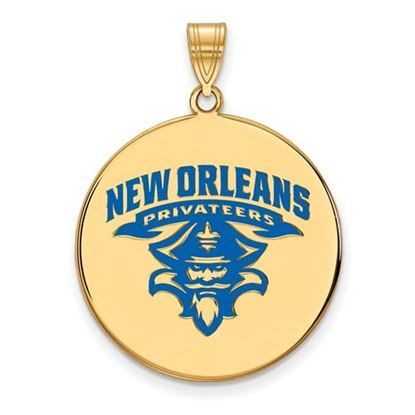 Picture of University of New Orleans Privateers Sterling Silver Gold Plated Extra Large Enameled Disc Pendant