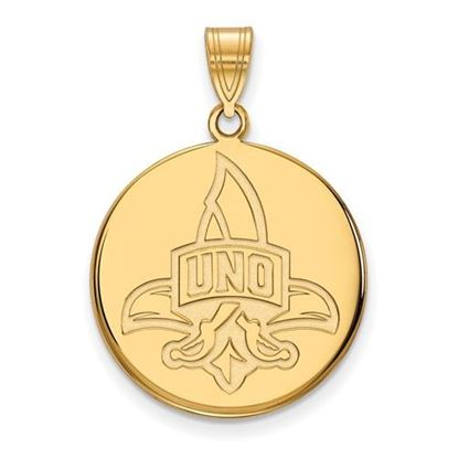 Picture of University of New Orleans Privateers Sterling Silver Gold Plated Large Disc Pendant