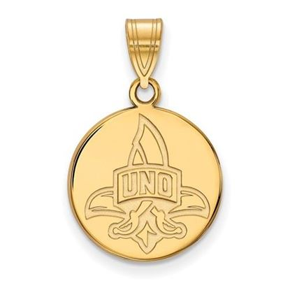 Picture of University of New Orleans Privateers Sterling Silver Gold Plated Medium Disc Pendant