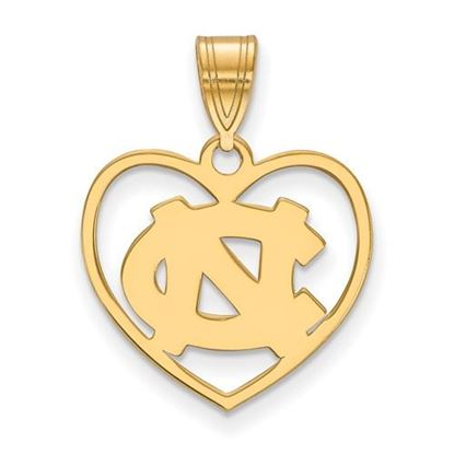 Picture of University of North Carolina Tar Heels Sterling Silver Gold Plated Heart Pendant