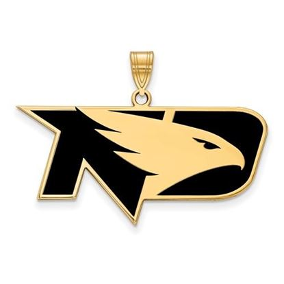 Picture of University of North Dakota Fighting Hawks Sterling Silver Gold Plated Large Enameled Pendant