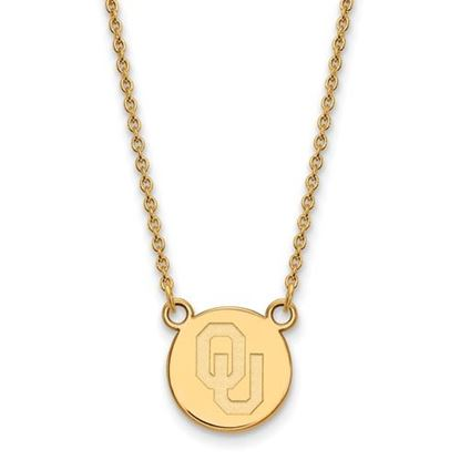 Picture of University of Oklahoma Sooners Sterling Silver Gold Plated Small Disc Necklace