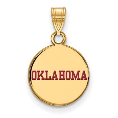 Picture of University of Oklahoma Sooners Sterling Silver Gold Plated Small Enameled Disc Pendant