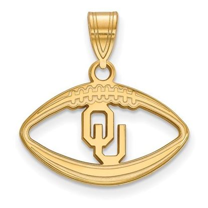 Picture of University of Oklahoma Sooners Sterling Silver Gold Plated Football Pendant