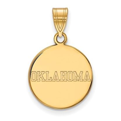 Picture of University of Oklahoma Sooners Sterling Silver Gold Plated Medium Disc Pendant