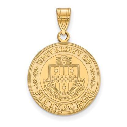 Picture of University of Pittsburgh Panthers Sterling Silver Gold Plated Large Crest Pendant
