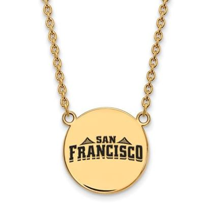 Picture of University of San Francisco Dons Sterling Silver Gold Plated Large Enameled Disc Necklace