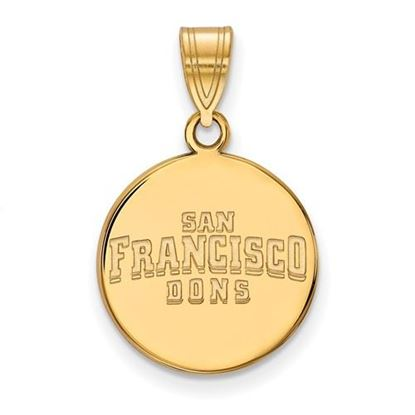 Picture of University of San Francisco Dons Sterling Silver Gold Plated Medium Disc Pendant