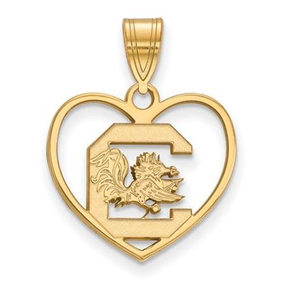 Picture of University of South Carolina Gamecocks Sterling Silver Gold Plated Heart Pendant