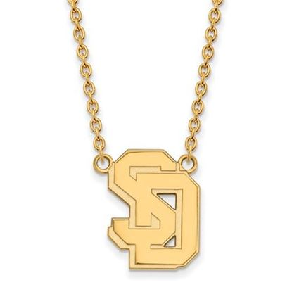 Picture of University of South Dakota Coyotes Sterling Silver Gold Plated Large Necklace