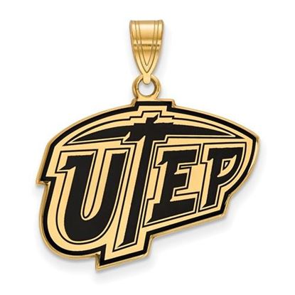 Picture of University of Texas at El Paso Miners Sterling Silver Gold Plated Large Enameled Pendant