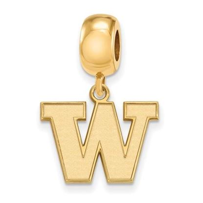 Picture of University of Washington Huskies Sterling Silver Gold Plated Small Dangle Bead
