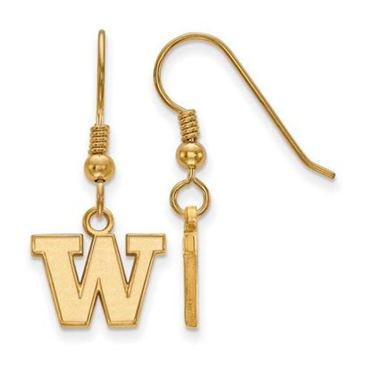 Picture of University of Washington Huskies Sterling Silver Gold Plated Extra Small Dangle Earrings
